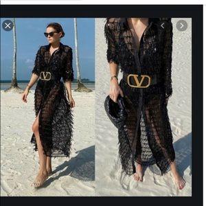 Zara black sequined semi-sheer dress